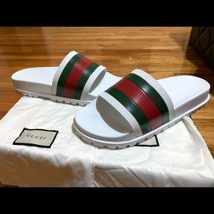 Mens white Gucci slides